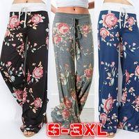 SICAK Satış Geniş Bacak Pantolon Bayan Orta Waisted Moda Baskılı Casual Gevşek Çiçek Pantolon İlkbahar Yaz Büyük Artı boyutu Kadın Giyim