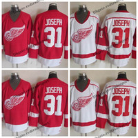 Homens Detroit Red Wings # 31 Curtis Joseph White Home Jersey Vintage Red Curtis Joseph costurado Hockey Jerseys barato M-XXXL