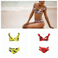 Floral Printed Bikini Set Women Hollow Out Strap Swimwear Be...