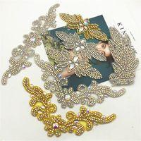 beaucoup de conception de fer sur le recadrage en strass perles appliques pour le mariage robe de mariée ceinture Motif