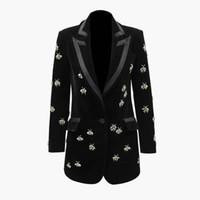 Luksusowy Projektowanie Plus Rozmiar XXXL Handmade Pszczoły Frezowanie Blazers Notched High Street Women Velvet Long Qaulity Blazer