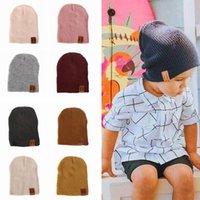 Moda bambini Cappello di lana Berretti causale inverno del bambino caldo solido Colore cappuccio bambini Outdoor viaggio Camping Cappello TTA1507