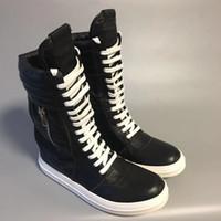 18ss ağır dipli yüksek çizmeler yeni yüksek top dantel fermuar çizmeler moda vahşi inek derisi kayış rahat ayakkabılar