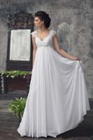 Vintage Dress Empire Waist Beach Weddings Klänning Sweetheart Scoop Neck Lace Capped Shoulder Corset Chiffon Country Wedding Dress Bridal Gown