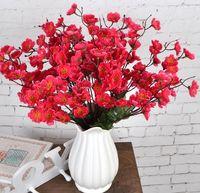 Flor de ciruelo pequeña simulada con múltiples cabezas Flor de ciruelo simulada, flor de seda y flor de durazno en la sala de estar WL393