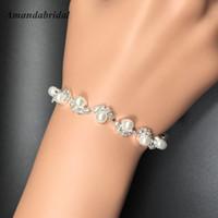 Amandabridal 2020 Cadena de joyería pulseras de Bling Perlas Pulsera de novia adornado con cuentas de cristal Accesorios de la mano de novia accesorios
