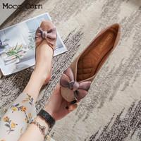 대형 여성 발레리나 아파트 신발 레이디 슬립 로퍼 블링 반짝이 달콤한 활 Moccasins 패션 파티 신발 Zapatos Mujer