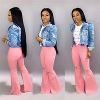 Güz Kış Kadın Flared Kot Delikler Çan Dipleri Moda Katı Renk Denim Geniş Bacak Pantolon Gym Yıkanmış Pembe Denim Bootcut Rahat Pantolon 1407