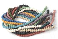 65pcs / lot 6mm 많은 색깔 용암 구슬 자연적인 돌 화산 바위 둥근 느슨한 구슬 DIY 보석 팔찌 만드는 화산 돌 구슬