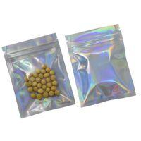 7.5 * 10cm 100pcs / lot Papier Aluminium Laser Zip Lock Emballage Sacs Avant Pochette En Plastique Transparent Mylar Feuille Drysaltery Parfumé