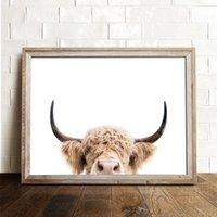 Peinture vache Photographie Toile Highland Cattle Accrochage animaux Ferme Toiles Art et Décoration d'intérieur Poster Chambre