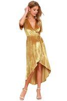 Sommer-Damen Samt Gürtel Kleider Fest mit V-Ausschnitt Frauen Asymmetrische Kleider Sexy Fashion Split weiblich Vintage-Kleider