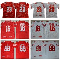 Mens NCAA Wisconsin Badgers Jonathan Taylor Jersey 16 Russell Wilson 99 JJ Watt College Football Rosso White University maglie Stiched
