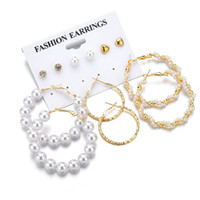 New Gold Color 6 Pairs Set Pearl Earrings For Women Geometri...