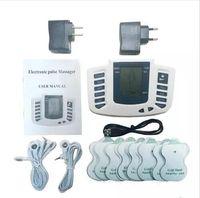 전기 자극기 전신 긴장 근육 치료 마사지 마사지 맥박 수십 침술 건강 관리 슬리밍 기계 16 패드