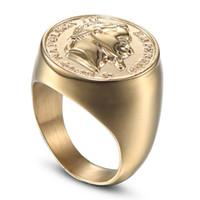 Anel anillo macho masculino CXQNEWA de acero inoxidable de gran tamaño de los hombres del punk de sello anillo de la joyería de moda de alta calidad anillo de la figura estatua