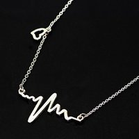Necklace Love Shaped Titanium Steel Heartbeat Lockbone Chain...