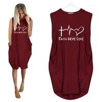 Été Femmes Designer Robe lettre imprimée manches grandes poches lambrissé Tops précarisés Vêtements grande taille S-5XL