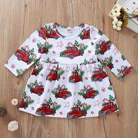 Baby Girl Christmas Robe à manches longues Sous voiture rouge Arbre de Noël Costume imprimé princesse automne robe