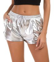 Fashion Women Hot Shorts Designer Drawstring Metallic Colors...