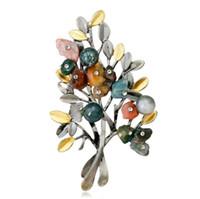 남성 여성을위한 다채로운 자연 스톤 브로치 크리스탈 크리스마스 선물 트리 브로치 핀 빈티지 웨딩 보석 코사지