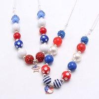 4 июля Дети Baby Fashion Флаг США Стиль Сердце / Star ожерелье DIY Коренастый Bubblegum бусины ожерелье Adjust Rope