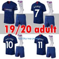 Erwachsene Kit 19 20 Hazard Fussball Jerseys Giroud 2019 2020 Higuain Jorginho Home Away Fabregas Morata Pedro 7 Kante Männer Sets Fußballhemden