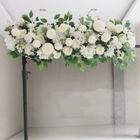 Exclusivo Artificial de seda Peonies Rose Flower Row Arrangement Supplies for Wedding Arch Centros de mesa de centro de DIY Suministros