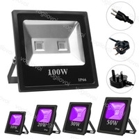 Projections UV 10W 20W 30W 50W 100W Étanche Noir Aluminium Fête Noir Éclairage COB Ultraviolet LED Lumière d'inondation pour équipement de scène DHL