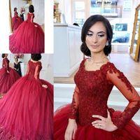 Red Dark 2019 vestido de bola quinceanera vestidos de mangas compridas Lace Applique Tiered tulle doce 16 vestidos vestidos vestidos de quinceanera
