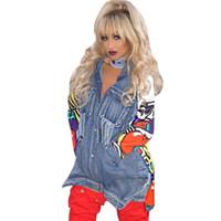 Spring Autumn Women Jeans Jacket Casual Streetwear Print Coats Casual Outerwear Jackets Vintage Denim Jacket S-XL