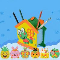 DIY 3D 퍼즐 만화 펜 홀더 학생 데스크 주최자 연필 펜 아이 장난감 문구 컨테이너 학교 용품 손에