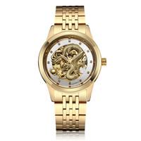 a6d4e10ce709 Dragon de lujo automático-auto-viento impermeable hombres hombres esqueleto  analógico reloj de pulsera mecánico Bayan Kol Saati C190420