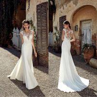 2019 New Vintage Beach Sirena Abiti da sposa sexy Applique Sexy Applique Sheer Neck Ploy Lunghezza Bohemian Plus Size Bridal Gowns BC0833