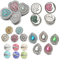 New Fashion 18mm Bottoni a pressione 6 Stili Fiore di strass Waterdrop Cuore Circle Shape Snap Gioielli fit braccialetti Noosa fai da te