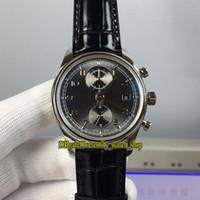 YLF Topversion Portugieser Chronograph Klassik 390404 Cal.89361 Automatische 28800 Uph Grau Dial Herrenuhr Sapphire Leder Stoppuhr Uhren