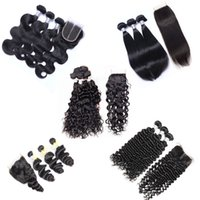 Indian Virgin Hair Weave 3 Bundles with Lace Closure Unprocessed Remy Human Hair Body Wave Straight Loose Deep Curly Wet and Wavy Closures