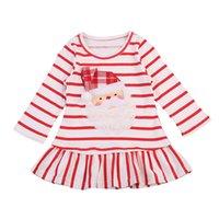 1-5T do bebê do Natal vestido do bebê Meninas de Santa Striped Dress Com Ruffle bainha da saia de Natal vestido de baile crianças roupas X-Mas