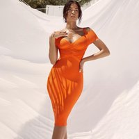 Real Bandage Bodycon Dress Orange Color Sexy Strapless colla...