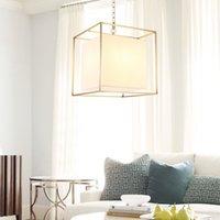 European American Golden Cube cobre latón led colgante lámpara tela luz marco cuadrado cadena colgante moderno