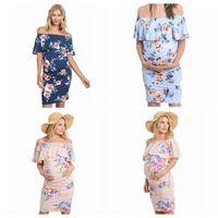 Maternity Dresses stampato floreale incinta abito Shouldless Vestiti di maternità Stretch Slim Large Size abiti dei vestiti di estate YP23