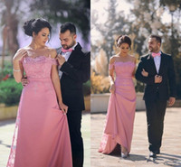 Rosa del hombro vestidos de baile de encaje y gasa de barrido tren vestidos de noche Arabia Saudita partido de coctel del vestido de las mujeres del desgaste formal