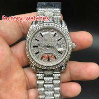 Melhor Qualidade Completa Grande Diamante Automático 36 MM moda feminina Assista Prata À Prova D 'Água 316 Relógios De Aço Inoxidável frete grátis