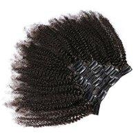 estensioni dei capelli mongoli del Virgin del brasiliano umani Attraente Afro riccio crespo 4A 4B 4C clip in capelli remy indiani dei capelli 7pcs / set 1set / lot