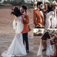 Mermaid Rustic Lace Wedding Dresses 2019 Sexy Backless Long Batwing Sleeve Bohemian Style Beach Boho Bridal Gowns Country Bride Dress