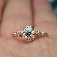 Rose Gold Voll Diamanten Kristalle Ringe 925 Sterling Silber Ehering, Verlobungs Schmuck-Geschenk für Dame Women 6/7/8/9/10