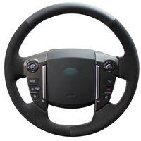 Bricolage à la main à coudre noir véritable cuir noir daim couverture de volant de voiture pour 2013 Land Rover Freelander 2 2013-2015