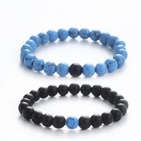 Women Men Natural turquoise Beads Chakra Bracelets Healing E...