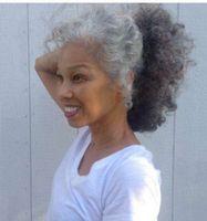 Afro Kinky Grey Women Ponytail Hair Extenson Clip W Naturalnym Szary Dwa Tone Highlight Pony Tail Hairpiece Szary Włosy Bułeczki Afro Puff