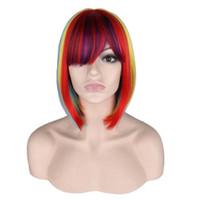 バングパーティーの耐熱性合成毛のかわいい女性の短いストレートレインボーボブコスプレウィッグ